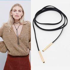 2016 Nieuwe Zwarte Suède Cord Ketting Mode Lange Boog Choker Verklaring Kettingen voor Vrouwen Collier Bijoux Groothandel
