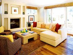 decorate small living room in style with large flatscreen tv and fireplace | family room with a sectional sofa and display niches surrounding the ...