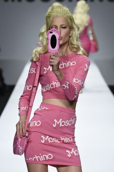 """wgsn: """"The @Moschino show saw real life Moschino Barbies' strut down the catwalk, complete will all the accessories. #MFW #SS15 """""""