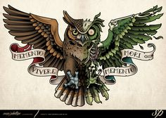 This is a mechanical / Steampunk owl tattoo I designed for Niels Huegen. Copyright www.samphillips.co.nz