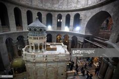 The tomb of Jesus Christ with the rotunda is seen in the Church of the Holy Sepulchre on March 21 2017 in Jerusalem Israel The tomb of Jesus Christ... Jesus Tomb, Jesus Christ, Stock Pictures, Stock Photos, Holy Land, Royalty Free Photos, Explore, Jerusalem Israel, Architecture