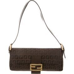 Pre-owned Fendi Zucchino Baguette Bag ($125) ❤ liked on Polyvore featuring bags, handbags, shoulder bags, brown, handbags shoulder bags, white leather shoulder bag, leather man bags, purse shoulder bag and leather shoulder bag