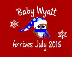 Chistmas Maternity Shirts, Snowowl Boy Maternity Shirts for Christmas In Red