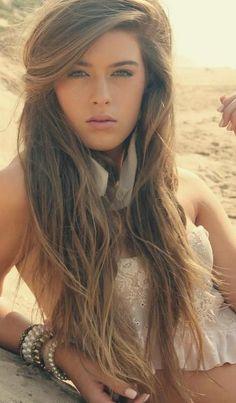 Straight beachy inspired hair.