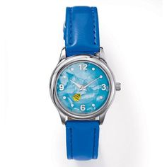 """Silvertone round face watch with blue faux mother of pearl dial. Inside dial has a moving disc with fish arwork. Features a blue leather-like band.• Band: 9"""" L x 5/8"""" W with buckle closure• Comes in a black Avon Jewelry box with white removable sleeve.• Imported  Coordinates with the Ocean Tides 7 pair earring set and the Ocean Tides 3 piece Anklet Set."""