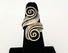 VINTAGE CAZARES MEXICAN STERLING SILVER LONG BYPASS RING TAXCO MEXICO SZ 8