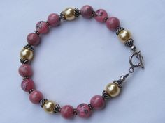 Pink Rose Beauty Bracelet by MilasDesigns on Etsy, $25.00