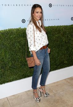 Jessica Alba Lookbook: Jessica Alba wearing Half Up Half Down (4 of 6). Jessica Alba opted for a casual half-up style when she attended the Victoria Beckham for Target launch.