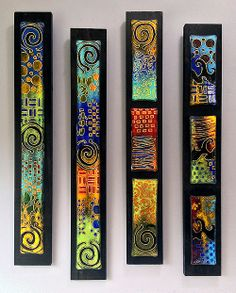 Jeff & Jaky Felix / Joyful Imagination Glass - fused together different dichro, flat like TV jewelry, etch, attach to black board Fused Glass Jewelry, Fused Glass Art, Dichroic Glass, Wall Sculptures, Sculpture Art, Yard Art Crafts, Painted Driftwood, Africa Art, Glass Wall Art