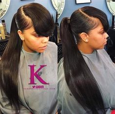 Weave Ponytail With Bangs Hairstyles Weave Ponytail With Bangs Hairstyles  Ponytail  Pinterest  Weave