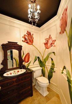 Pillanatok Interior And Exterior, Interior Design, Mural Painting, Mural Art, Paintings, Wall Treatments, Beautiful Bathrooms, Bathroom Inspiration, Painted Furniture