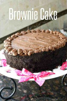 Homemade Birthday Chocolate Brownie Cake Recipe, an easy super moist from scratch layered chocolate brownie cake perfect for birthdays and special occasions! Decorated with a rich dark chocolate frosting and Oreo crumbs! Homemade Birthday Cakes, Birthday Desserts, Homemade Cake Recipes, Brownie Recipes, Homemade Frosting, Homemade Brownies, Birthday Ideas, Just Desserts, Delicious Desserts