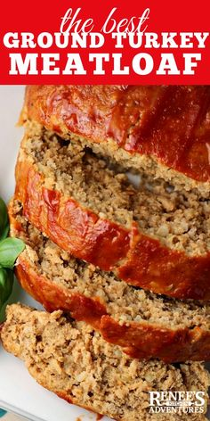 The Best Ground Turkey Meatloaf by Renee's Kitchen Adventures is the best recipe for a flavorful, moist and delicious healthy turkey meatloaf. #meatloaf #turkeymeatloaf #healthymeatloaf #meatloafrecipe