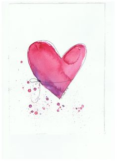 Our sold watercolors and pastels in 2015 Watercolor Heart, Watercolor Cards, Watercolor And Ink, Watercolor Flowers, Easy Flower Painting, Heart Painting, Watercolor Painting Techniques, Watercolor Paintings, Watercolors