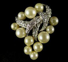 Crown Trifari Signed Brooch Vintage Silver Tone Faux Pearl | eBay