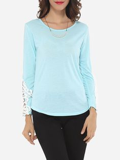 Lace Plain Exquisite Round Neck Long-sleeve-t-shirts