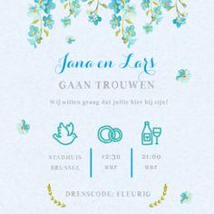 Klassieke trouwkaart met blauwe bloesem op blauw kraftpapier. Met tijdlijn aan de binnenzijde. Journal, Beautiful, Kraft Paper