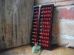 Chinese Abacus Vintage Math Red Wood Beads Dark by VintageVoyageLV