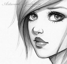 Big eyes Girl illustration / Ragazza dagli occhi grandi, illustrazione disegno bozzetto - Artwork by Gabrielle