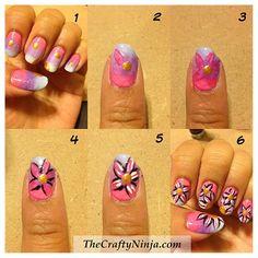 DIY Flower Nail Design DIY Nails Art