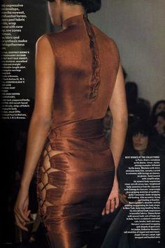 Laced copper.  Alaia.  Vogue UK, 1986.  Amazing.