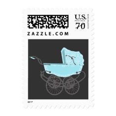 Blue Vintage Pram Baby Shower Postage Stamp #postage #stamps #customstamps #mail #invites #letters #postage #postage stamp