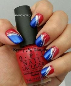 of July Nails! Red white and blue! Easy fourth of july nails usa nails summer nail art spring nail design patriotic nails memorial day nail art veteran day nail design Spring Nail Art, Nail Designs Spring, Spring Nails, Nail Art Designs, July 4th Nails Designs, Nail Designs Summer Easy, Red Summer Nails, Pedicure Designs, Fancy Nails