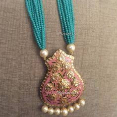 Customised this beautiful pastel meenakari necklace for a mehendi bride How amazing does the pink and mint look together Price - INR 6500 :) Dainty Jewelry, Cute Jewelry, Crystal Jewelry, Boho Jewelry, Bridal Jewelry, Antique Jewelry, Beaded Jewelry, Beaded Necklace, Jewelry Design