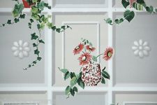 1940s Vintage Kitchen Wallpaper Ivy and Flowers on gray background