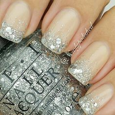 Nude glitter nails-nail tip idea for the big day but my base would be purple