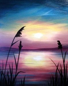 Landscape silhouette painting simple landscape art beautiful examples of ac … … - Malerei Wine And Canvas, Silhouette Painting, Landscape Silhouette, Easy Paintings, Sunset Paintings, Decorative Paintings, Simple Acrylic Paintings, Pictures To Paint, Acrylic Art