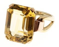 Retro Yellow Citrine Pink Green Gold Ring 2