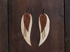Brown and cream Feather Leather Earrings, metallic leather, layered earrings, tribal Earrings, Boho earrings, dangle earrings, long earrings