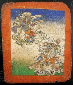 Carte de divination représentant une compétition de deux démons sur leurs montures. Pour plus de détails sur les tsakli lire cet article (en anglais) de asianart.com. Tibet. 19ème siècle.