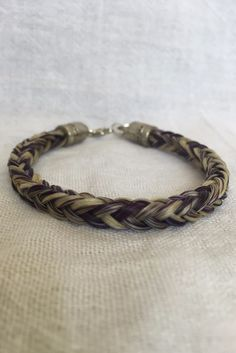 5mm Thick Horse Hair Bracelet with Silver Heart Charm, Purple and White Horse Hair