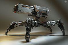 Explore the Sci Fi and Cyberpunk collection - the favourite images chosen by on DeviantArt. Robot Design, Game Design, Drones, Robot Militar, Cyberpunk, Spider Robot, Arte Robot, Mekka, Future Weapons