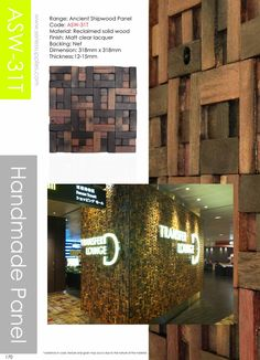 Ancient Shipwood Panel  is a kind of special and natural decoration material. Its great physical property of abrasionproof, waterproof, and mothproof makes it become an excellent natural environmental protected decoration material.