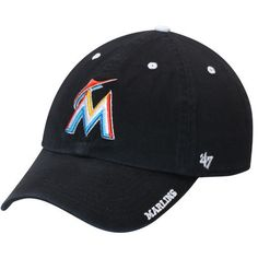 detailed look 14b74 4e202 Men s  47 Black Miami Marlins Ice Clean Up Adjustable Hat