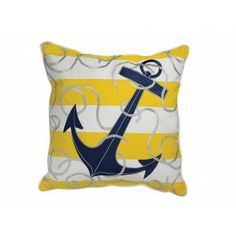 Yellow and White Anchor Pillow