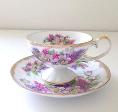 Vintage Porcelain Shafford Tea Cup and Saucer Tea Party Japan Cottage Style China Cups And Saucers, Teapots And Cups, Tea Cup Saucer, Tea Cups, Vintage Tea, Vintage Party, China Tea Sets, My Cup Of Tea, Tea Service