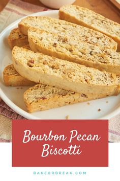 Add a little sweetness to your coffee or tea break with these delicious Bourbon Pecan Biscotti! - Bake or Break ~ http://www.bakeorbreak.com