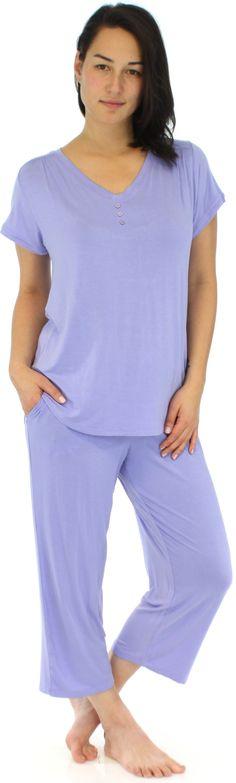 f9b191a69e Pajama Heaven Women s Bamboo Jersey V-Neck and Capri Pant Set