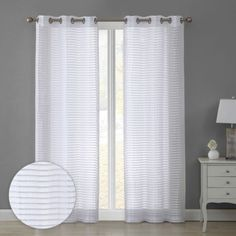 Bathe your home in natural light with these sheer window curtains from VCNY. The sheer textured fabric provides plenty of soft, diffused light in your bedroom, living room, dining room or any other space in your home. These curtains are simple yet sophisticated with a striped design that complements many styles from modern to farmhouse. Grommet Curtains, Window Curtains, Decorative Curtain Rods, Diffused Light, Stripes Design, Natural Light, Window Treatments, Blinds, Dining Room
