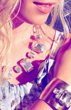 Aurora Borealis Crystal Statement Necklace & Cuff Bracelet <3