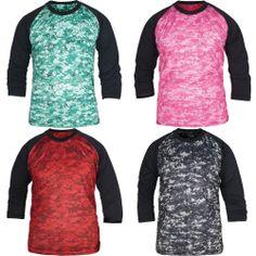 New 3/4 Sleeve Raglan Baseball Mens Camouflage T-Shirt Camo Army Sport Crew Neck