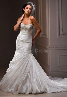 Fabulous Taffeta Fit N Flare Strapless Long Chapel Train Wedding Dresses