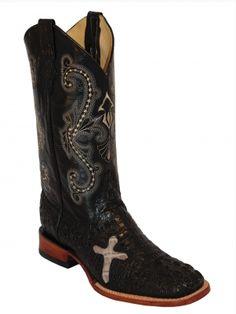 Men's Ferrini Black Print Caiman Cross Cowboy Boots