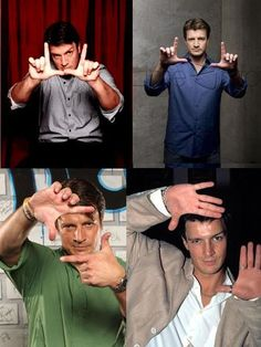 Nathan Fillion looking through his viewfinder.
