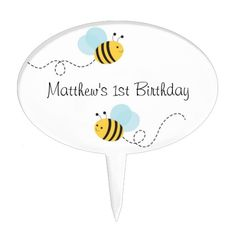 Get a Cupcake Topper cake topper from Zazzle. Shop for your cake topper now! Bumble Bee Cake, Bee Cakes, Personalized Cake Toppers, Cupcake Toppers