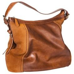 Genuine Suede Trim Hobo Handbag - Cognac